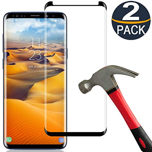 [2 Pack] Samsung Galaxy S8 Plus Screen Protector Tempered Glass Film [Case Friendly][Anti-Bubble][3D Curved][3D Full Coverage] Tempered Glass Screen Protector for Samsung Galaxy S8 Plus