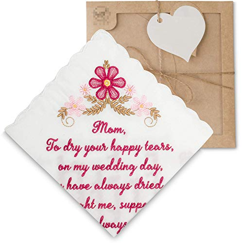 W&F GIFT Mother Of The Bride Wedding Handkerchief for Mom from Daughter, Wedding for Parents.