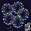 Led Bobo Balloons, Zodight 14 Pack LED Light Up Balloons, Glow Transparent Bubble Balloons with String Lights for Christmas Wedding Birthday Outdoor Party Decorations (18 Inch/Colorful)