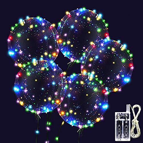 Zodight 10 PCS Ballons d'hélium LED, Ballons Bobo Transparent Ballon Lumineux à LED de 18 Pouces pour Anniversaire, Mariage, Noël, Fête, La Saint Valentin, Soirée