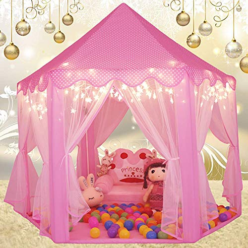 Monobeach Kids Play Tent Girls Toys Princess Castle Play Tent Kids Playhouse with Star Lights Gift for Children Indoor & Outdoor Games(Pink)