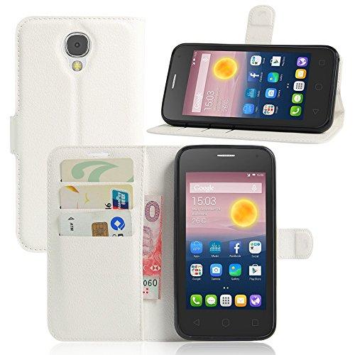 Tasche für Alcatel Pixi 4 (5.0 zoll) 5010D 3G Version Hülle, Ycloud PU Ledertasche Flip Cover Wallet Case Handyhülle mit Stand Function Credit Card Slots Bookstyle Purse Design weiß
