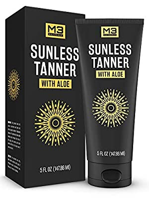 M3 Naturals Facial Self Sunless Tanner Infused with Aloe Vera Natural Looking and Long Lasting Self-Tanning Bronzing Lotion for Body and Face 5 Ounce