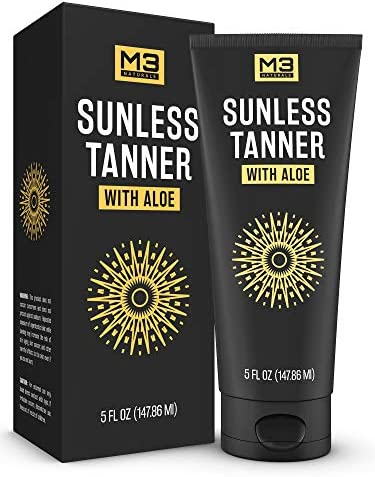 M3 Naturals Sunless Tanning Lotion Infused with Aloe Vera for Natural Looking Body and Face product image