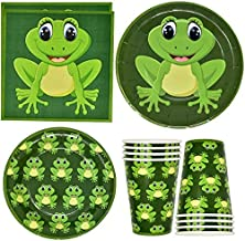 """Frog Party Supplies Tableware Set 24 9"""" Paper Plates 24 7"""" Plate 24 9 Oz Cups and 50 Lunch Napkins for Green Frogs Camping..."""