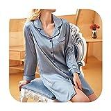 Ropa de dormir de satén para mujer, estilo casual, de moda, vestido de noche, para dormir, camisa larga, cuello redondo