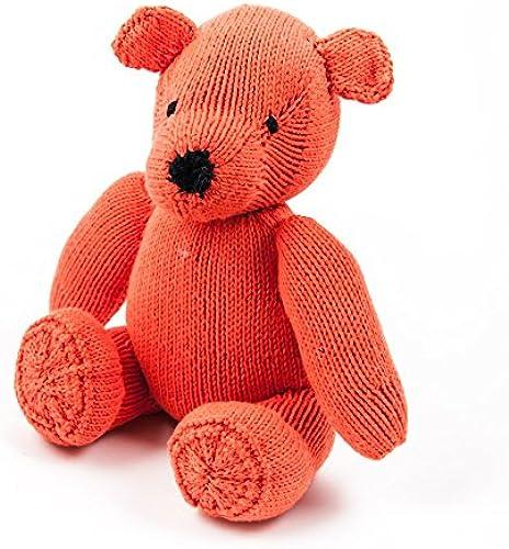 Orangeroter Teddyb  Stofftier, Bio Baumwolle ca30cm - Kinder Kenana Stofftiere - Handmade - Handarbeit