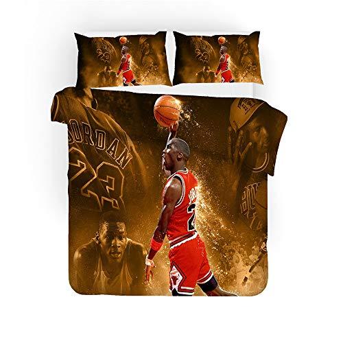 Funda de almohada con funda nórdica, ropa de cama de baloncesto de la NBA Traje de 3 piezas, cama doble Sin fundido Hipoalergénico Suave Fibra superfina Ropa de cama Rojo Amarillo,01,GBSingle55×82.7in
