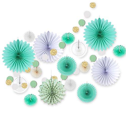 SUNBEAUTY Decoración para el Dormitorio,Azul Rosette y Garland para la Decoración del Salón (17 Piezas, Verde)