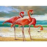 luckykyky 5D Diamante Pintura Mosaico Decoración para el hogar Bordado Flamingo Beach Punto de cruz Set Arte abstracto Diamante redondo 3D Regalo sin marco 40x50cm