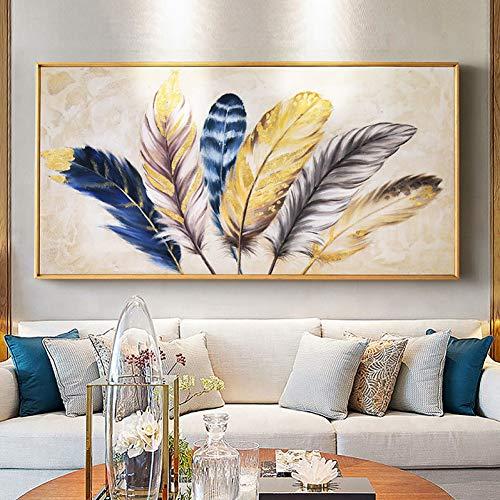 HUAYOUZXM gouden abstract zeildoekschilderij huiskamer-slaapkamer-decoratie-wandafbeelding No Frame 70 x 140 cm.