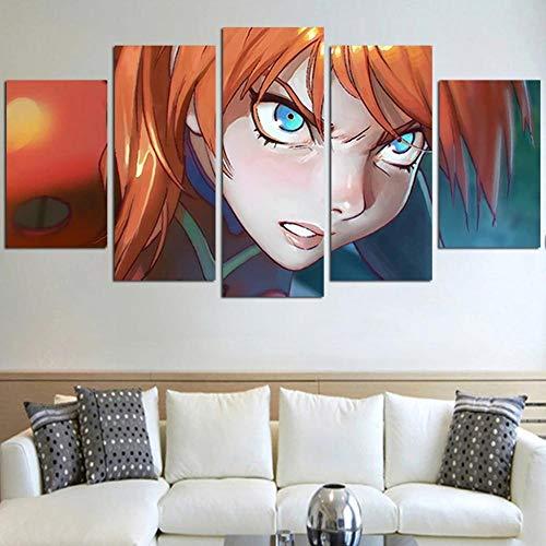 DBFHC Art Cuadros En Lienzo Neon Genesi Evangellio Decoracion De Pared 5 Piezas Modernos Mural Fotos para Salon Dormitori Baño Comedor 150X80Cm