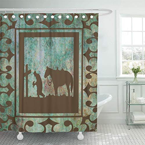 "Semtomn Shower Curtain Cowgirl Western Cowboy and Rodeo Bath 72""x72"" Home Decor Waterproof Bath Bathroom Curtains Set with Hooks"