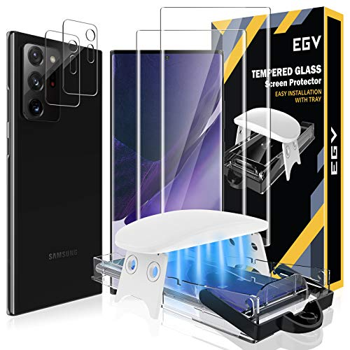4 Pack EGV 2 Pack Tempered Glass Screen Protector and 2 Pack Camera Lens Protector Compatible with Samsung Galaxy Note 20 Ultra 6.9-inch, Easy Installation Tool, Fingerprint Unlock Compatible
