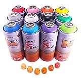 3-Sixty 360 400ml Matte Finish Main Colors Set of 12 Graffiti Street Art Mural Spray Paint