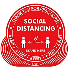 【PURPOSE】Help your customers practice social distancing, these bright and easy-to-see social distancing floor decals help customers, guests, staff members, or visitors maintain 6' between one another for better personal safety. Let them know where to...