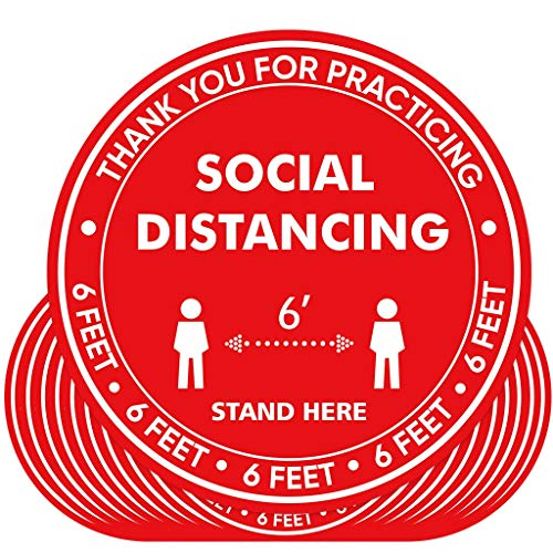 20 Pack 10' Social Distancing Floor Stickers Decals Water Proof Maintain 6 FFET Distance Safety Social Distancing Floor Signs Markers for School, Restaurant, Supermarket, Bank and So On - Red