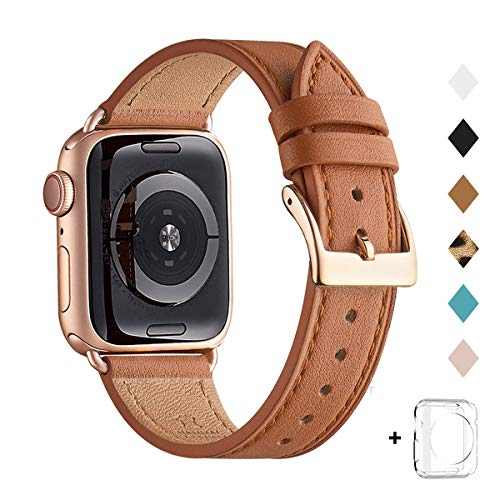 QAZNZ Lederarmband Kompatibel mit Apple Watch Armband 40mm 38mm 44mm 42mm, Original Leder Ersatzband Kompatibel mit iWatch Serie 6 5 4 3 2 1 & iWatch SE(38mm 40mm,Braun/Roségold)