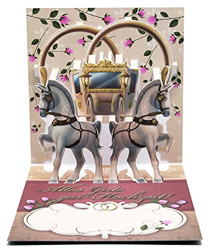 UNIQARD® karta 3D na ślub – karta pop-up 3D – niezwykłe kartki z życzeniami na ślub, pomysł na prezent, idealna na bony i prezenty pieniężne – dla dzieci i dorosłych (wesele konie)