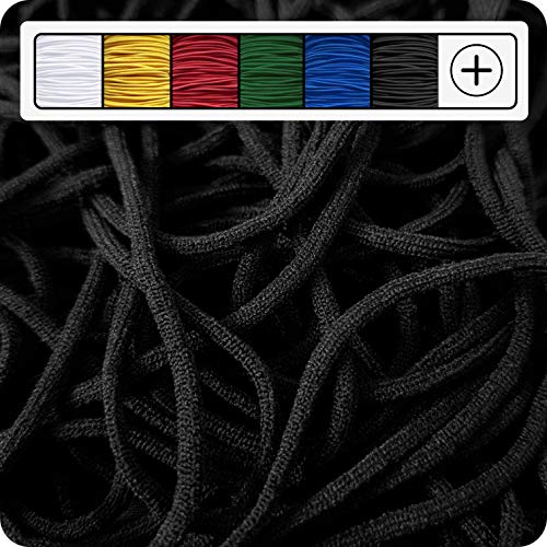 GIPFELWERK Gummikordel | ca. 1mm bis 2mm | 5 Meter | Rund | Weich | Elastisch | Gummiband | Gummilitze | Gummizug | Gummischnur | Rundgummi | Gummi | Hutgummi | Seil | Schnur (Schwarz (Extra Weich))