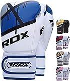 RDX Boxhandschuhe Muay Thai Boxsack Training Sparring Kickboxen Sandsack Maya Hide Leder Boxing Gloves, Blau, 14 oz
