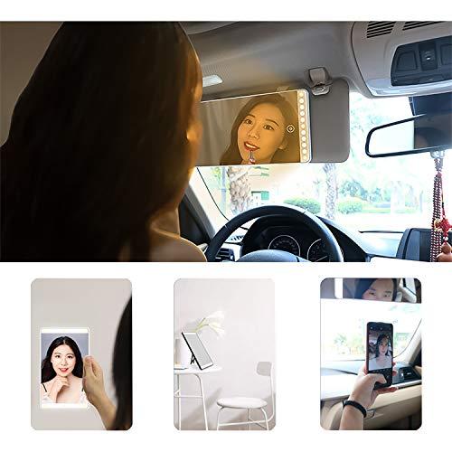 3 in 1 LED Specchio per Il Trucco Dell'auto, Ricarica USB Specchietto di Cortesia per Aletta Parasole per Auto (Bianco)