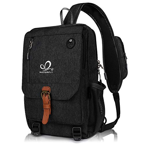 Waterfly Laptop Bag for Women Sling Bag Backpack Crossbody Messenger Bag for Men Travel Rucksack Black