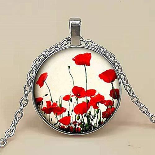 2019 caliente amapola colgante amapola collar rojo blanco flor joyería colgante natural cristal cabujón collar amapola joyería