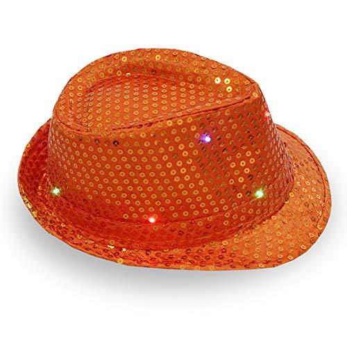 ddellk LED-jazz-hoed, knipperend, knipperend sequin-jazz-kap voor feest-kerstpodiums-performance-glut-hoed 58cm Adjustable oranje