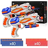 Duckura Toy Gifts for Age 4 5 6 7 8 Kids Boys, Toy Guns 2 Pack with 80 Refill Darts Compatible for Nerf Fortnite, Birthday Gifts Party Favors for 4 Years Up