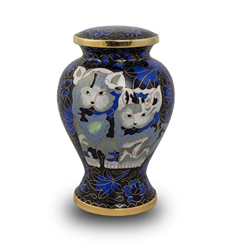 OneWorld Memorials Cloisonne Bronze Cremation Urn for Cats - Extra Small - Holds Up to 25 Cubic Inches of Ashes - Cloisonne Blue Pet Cremation Urn for Ashes - Engraving Sold Separately