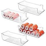 mDesign Juego de 4 cajas de almacenaje para frigorífico y armarios de cocina – Contenedores de plástico con capacidad para 9 latas – Práctico organizador de nevera – transparente