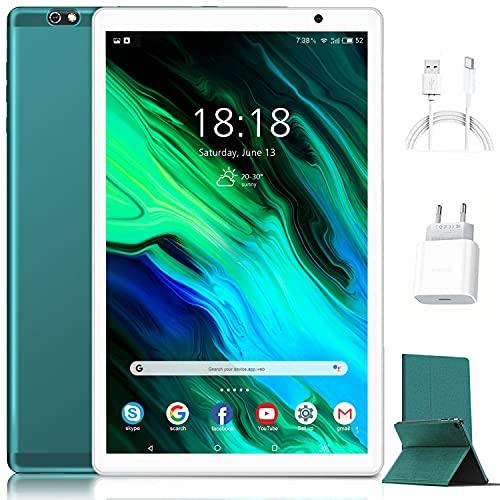 Tablet 10 Pollici Android 10.0 Originale 4GB RAM 64GB ROM +Espanso 128GB con Schermo IPS HD Quad Core 1.6GHz Tablets LTE SIM con WIFI | 8000mAh | Bluetooth | GPS |Type-C (Verde)