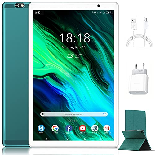 Tablet de 10 pulgadas Android 10.0 original 4 GB RAM 64 GB ROM + 128 GB de memoria con pantalla IPS HD Quad Core 1,6 GHz Tablets Dual LTE SIM con WiFi | 8000 mAh | Bluetooth | GPS | Type-C (verde)