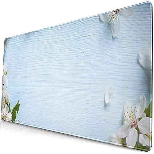 Gaming Alfombrillas de ratón extendidas con Base de Goma Antideslizante Flor Azul Borde de Primavera Flor Blanca Mayo Pascua Abril 30X80 Cm