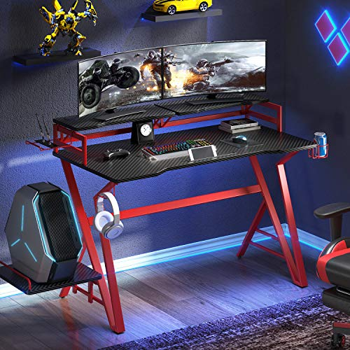 VIPEK Ergonomic Gaming Desk 47 Inch Gaming Computer Desk, Home Office Desk Gaming Table Carbon Fiber Surface Gamer Desk Game Table with Monitor Shelf, Headphone Hook and Cup Holder, Red