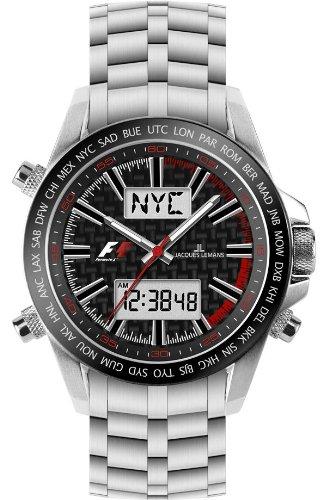 JACQUES LEMANS Formula 1 UTC-Chrono F-5024B - Reloj de Caballero de Cuarzo, Correa de Acero Inoxidable (con cronómetro)
