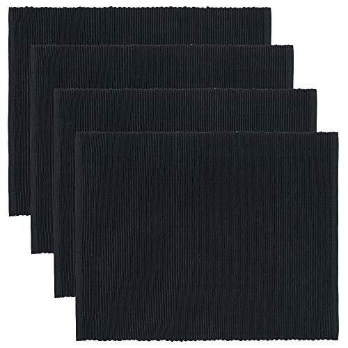 LINUM UNI, Set de Table, Lot de 4, 36 x 46 cm, Coton côtelé, Lavable en Machine (Noir)