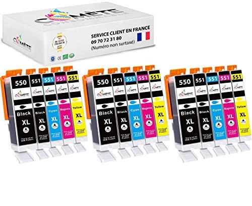 Comete - Cartuchos compatibles con Canon PGI-550 CLI-551 550XL 551XL para impresora PIXMA (15 unidades), color negro