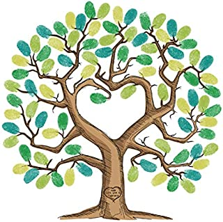 Tulamama Fingerprint Tree Canvas - The Alternative to A Baby or Wedding Shower Guest Book - with 25 Complimentary Good Advice Cards & Ink. Heart