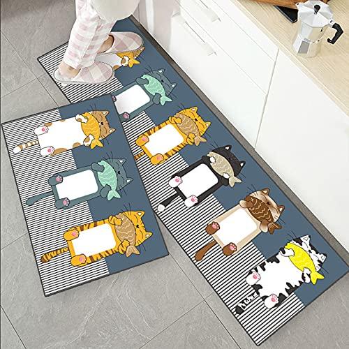 OPLJ Alfombra de Cocina Antideslizante para Piso, Perro, Gato, Alfombra de baño Impresa, Felpudo de Entrada, tapete, alfombras de Moda para el área del Dormitorio A11 40x60cm + 40x120cm