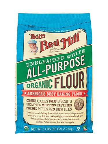 ボブズレッドミル オーガニック アンブリーチド ホワイト オール パーパス フラワー (有機硬質赤春小麦粉) 2.27 kg 中力粉