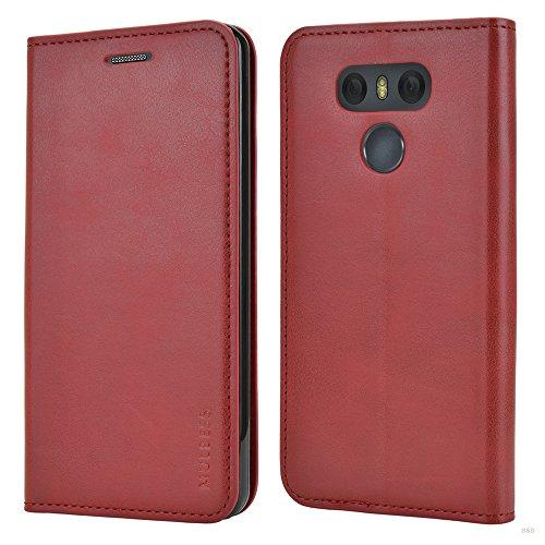 Mulbess Cover per LG G6, Custodia Pelle con Funzione Stand per LG G6 [Slim Case], Vino Rosso