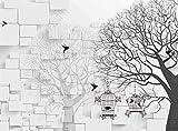 ZZXIAO Mural grande árbol silueta pájaro jaula 3D pared papel de pared salón dormitorio pared decorativa Decoración Fotomural sala Pared Pintado Papel tapiz no tejido-300cm×210cm