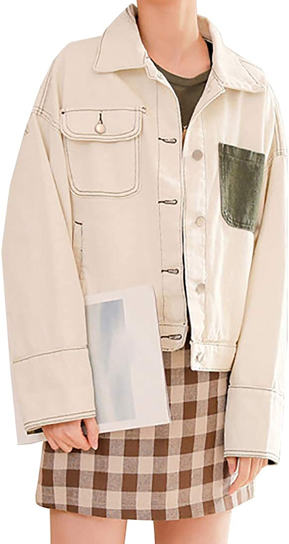 Aiweijia Women's Denim Jacket Loose Vintage Outwear Contrasting Coat