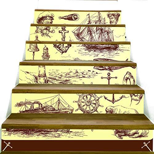ZXFMTQ 3D Treppenhaus Aufkleber Bleistiftzeichnung Treppe Kunst Aufkleber Für Zu Hause Raumdekoration Segelboot Kapitän Tapeten Aufkleber Ruder Anker Treppen Aufkleber
