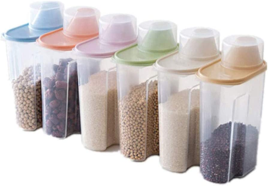 JDH 6 Pack Beauty products 2.5L Transparent service Grain Sealed Containers Stor