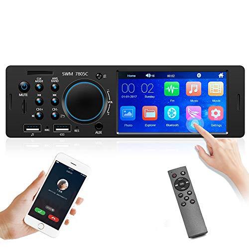 CAMECHO Bluetooth Autoradio 4 Zoll Touchscreen Single Din FM Radioempfänger Auto Radio mit Zwei USB AUX-In SD TF Kartenanschlüssen + Rückfahrkamera + Fernbedienung
