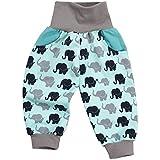 "Lilakind"" Jungen Hose Pumphose Babyhose Taschen Elefanten Türkis Jersey Baumwolle Gr. 110/116 - Made in Germany"