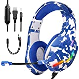 FChome Gaming Headset for PS4,PC, Xbox One Controller,Over Ear Gaming Headphones with Noise Cancelling Mic, LED Light, Bass Surround, Soft Memory Earmuffs for Laptop Mac Nintendo Switch Games